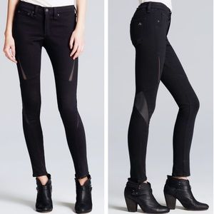 EUC Rag & Bone Labyrinth Skinny Mesh&Leather Jeans